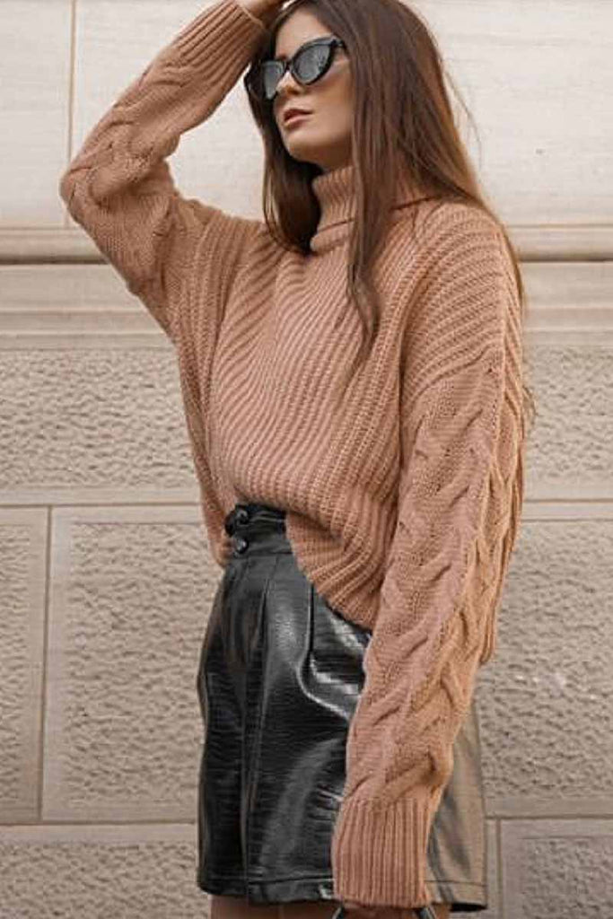 Florcoo High Neck Loose Wwist Sleeve Sweater