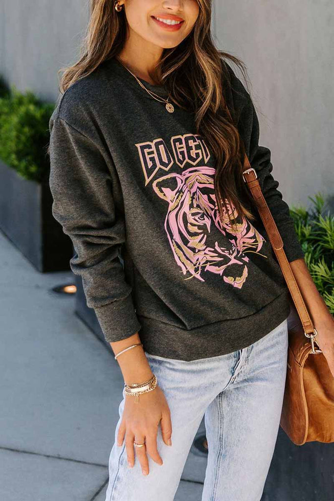 Florcoo Round Neck Loose Tiger Head Print Tops
