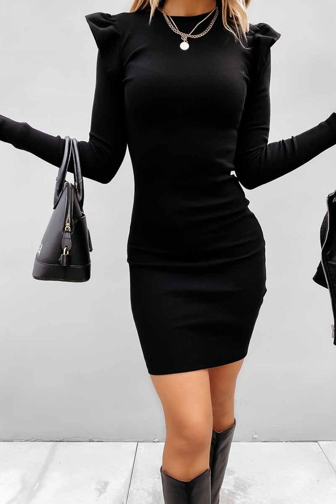 Florcoo Long Sleeve Knit Bag Hip Midi Dresses
