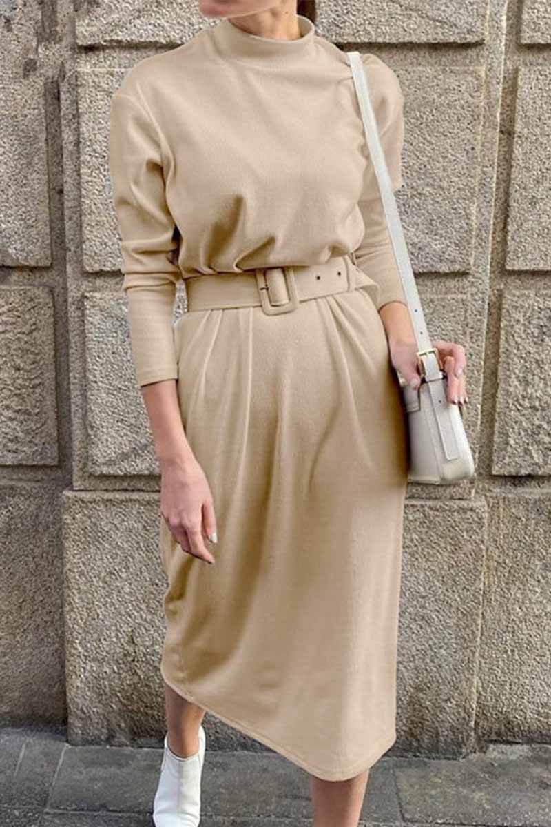 Florcoo Loose Long Sleeve Solid Color Midi Dresses