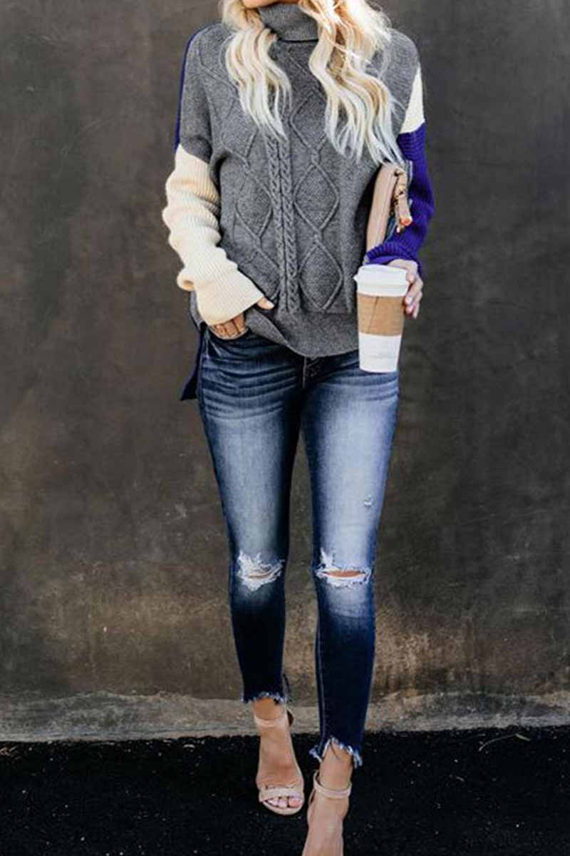 Florcoo Loose High Neck Striped Double Color Sweater