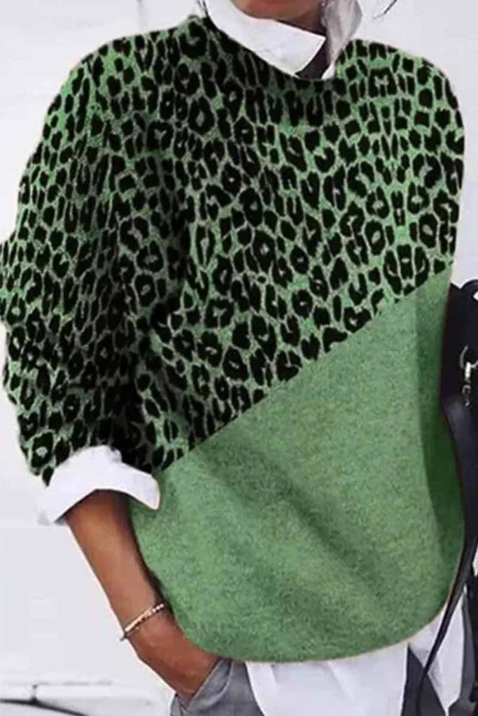 Florcoo Loose Round Neck Leopard Print Patchwork Sweater