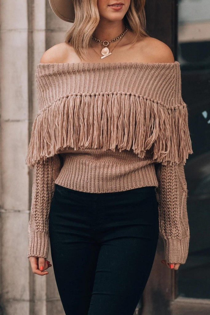 Florcoo Sexy One-Shoulder Fringed Sweater