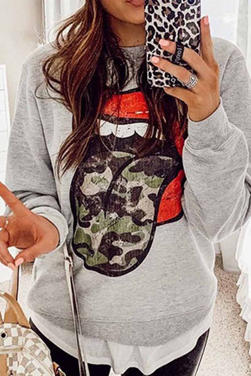 Florcoo Loose Printed Tongue and Lips Long Sleeves Tops