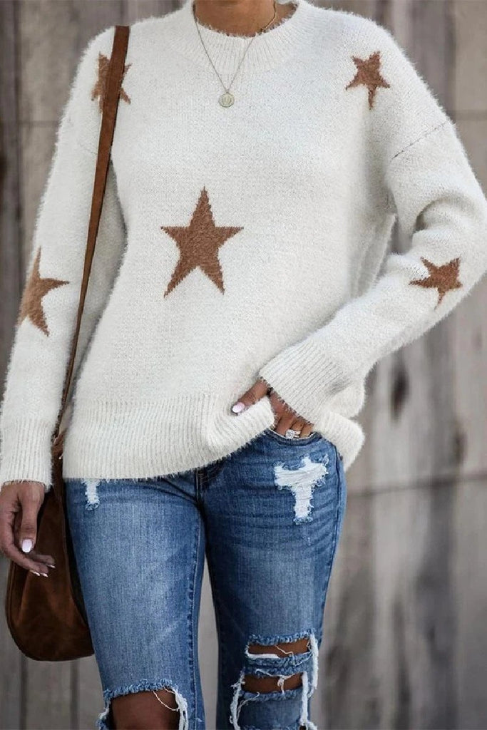 Florcoo Round Neck Loose Knit Long Sleeve Sweater