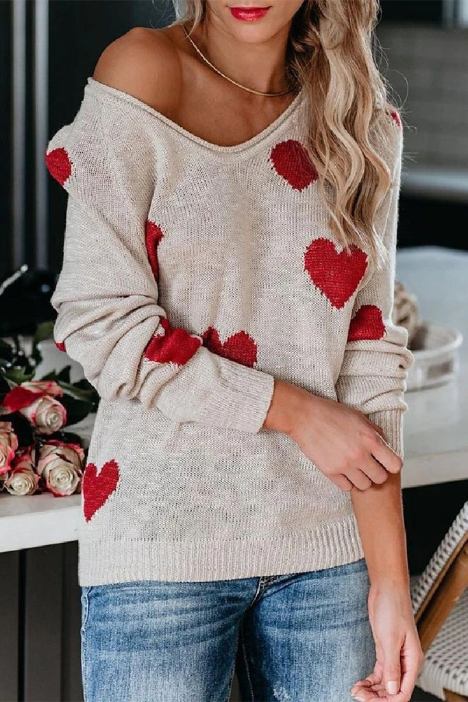 Florcoo Loose V-Neck Love Knitted Sweater
