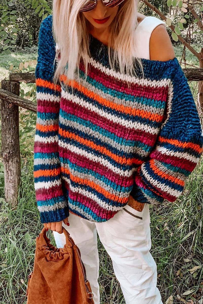 Florcoo Loose Round Neck Rainbow Striped Sweater