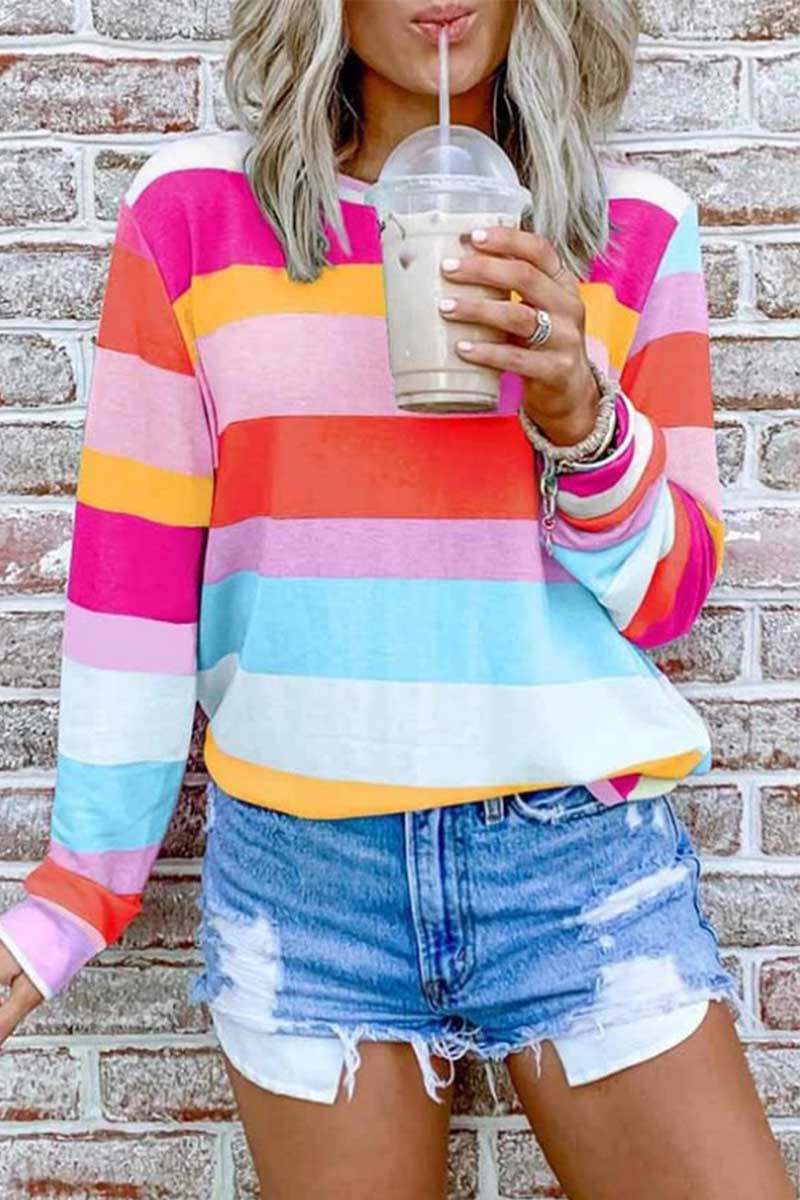 Florcoo Rainbow Striped Multicolor Thin Tops