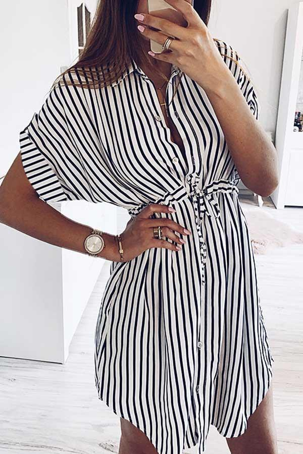 Striped Drawstring Lace-Up Dress