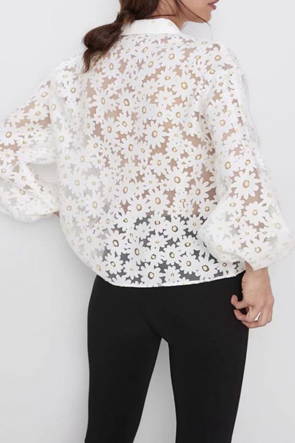 Florcoo See-through Puff Sleeve Print Shirts