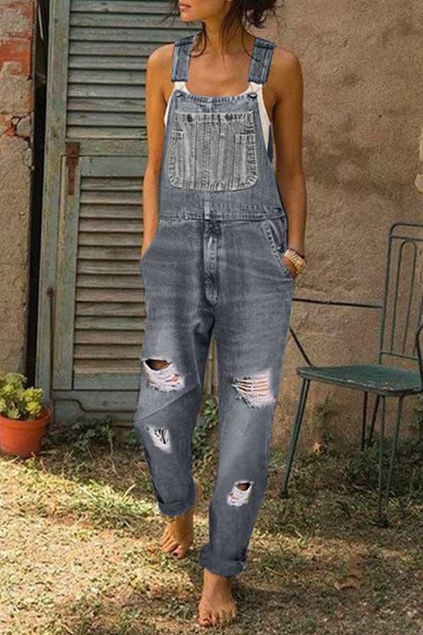 Washed Ripped Hole Denim Overalls