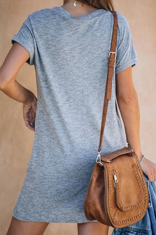 Casual Deep V-neck T-shirt Dress