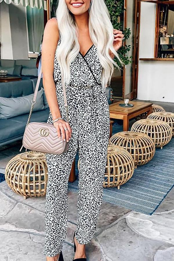 Sexy Leopard-print Strapped jumpsuit