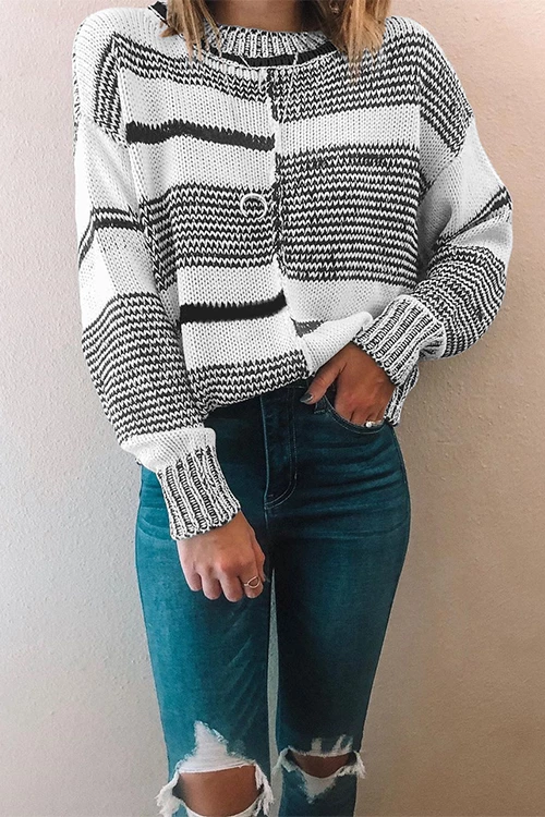 Florcoo Striped Long Sleeve Pullover Sweater