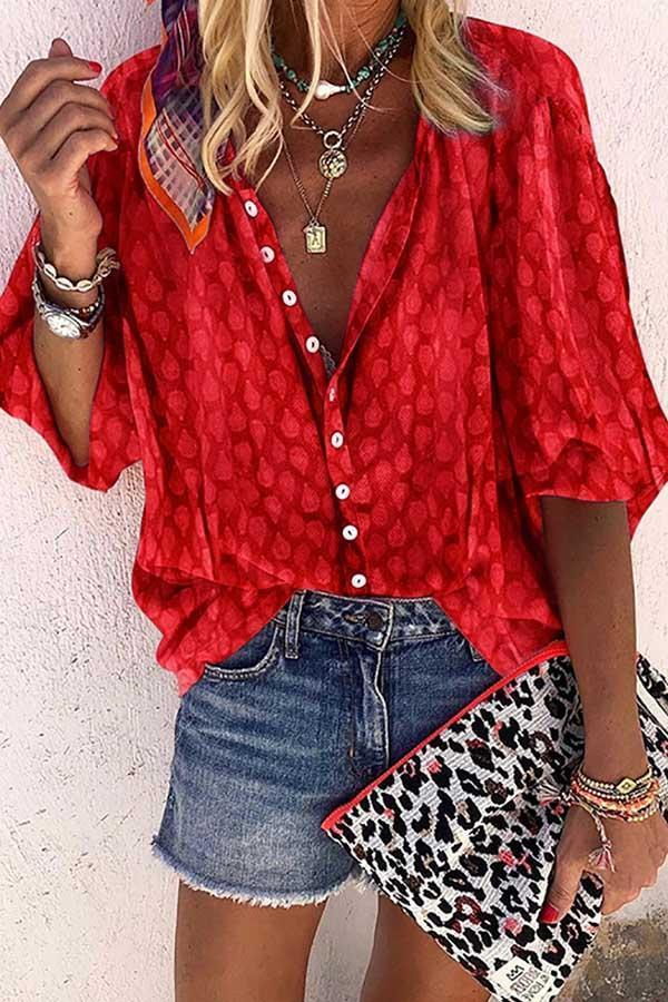 Solid Color Button Loose Shirt