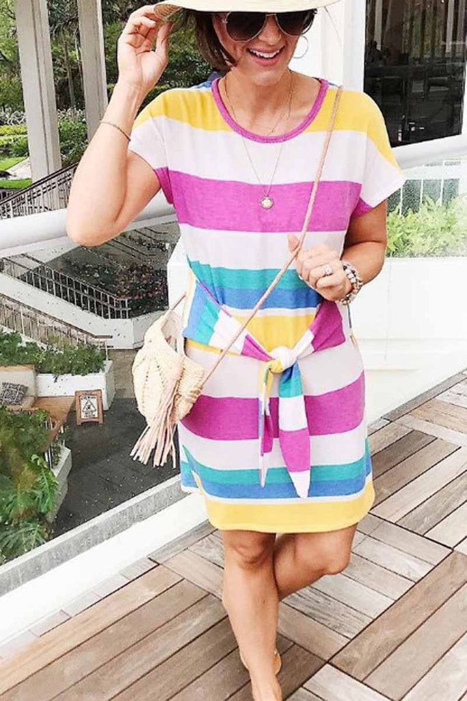 Florcoo Rainbow Striped Knot Design Mide Dress