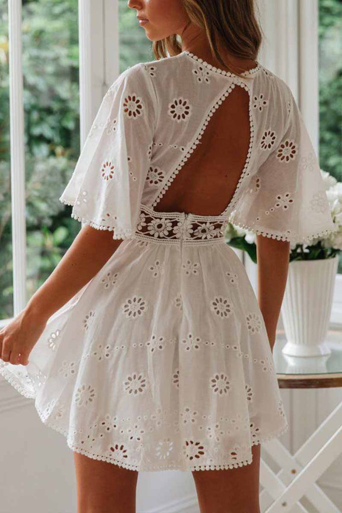 Florcoo O-Neck White Lace Dress