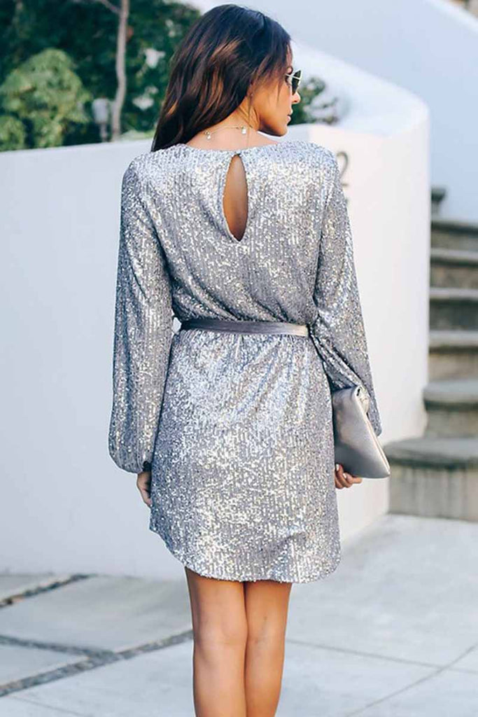Florcoo Round Neck Lamp Basket Sleeve Sequins Mini Dress