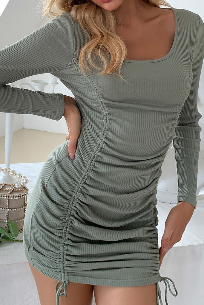 Florcoo Long Sleeve Drawstring Strapless Slim Dress