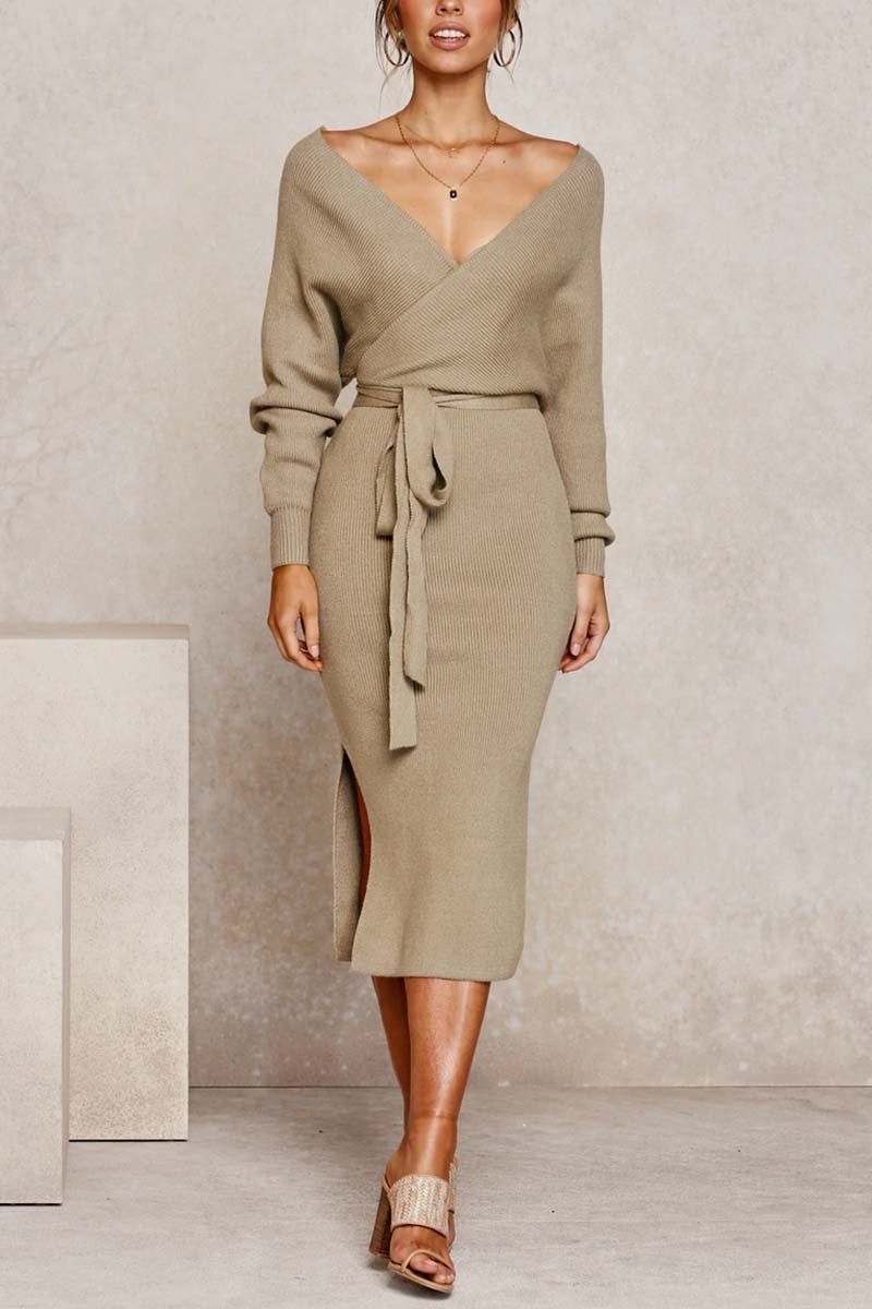 Florcoo V Neck Backless Sweater Dress