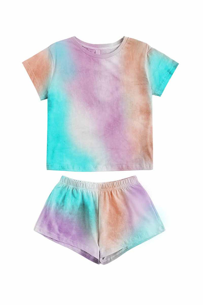 Florcoo Tie-dye Round Neck Two-Pieces Set
