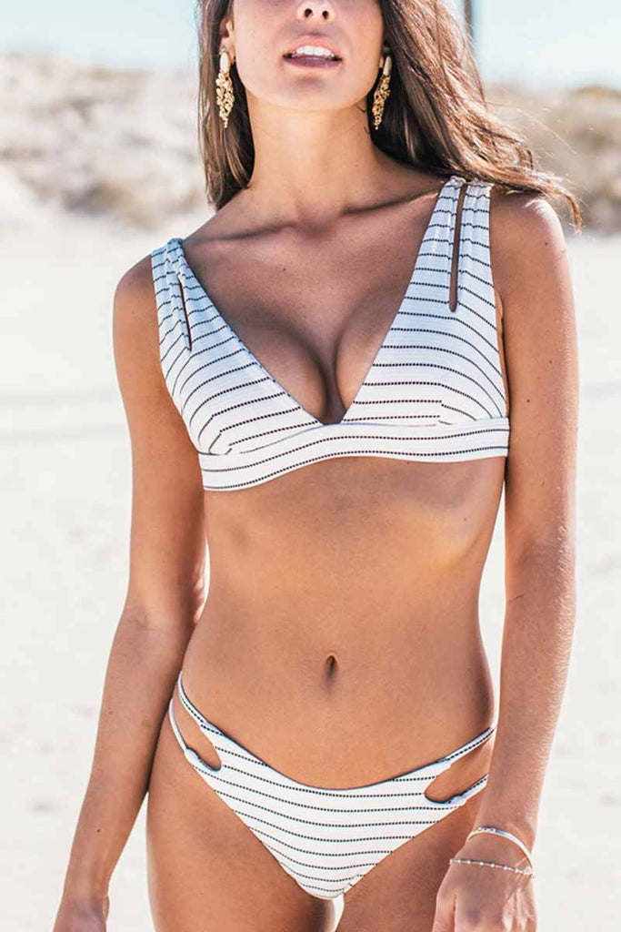 Florcoo Striped Hollow-out Sexy Bikini Set