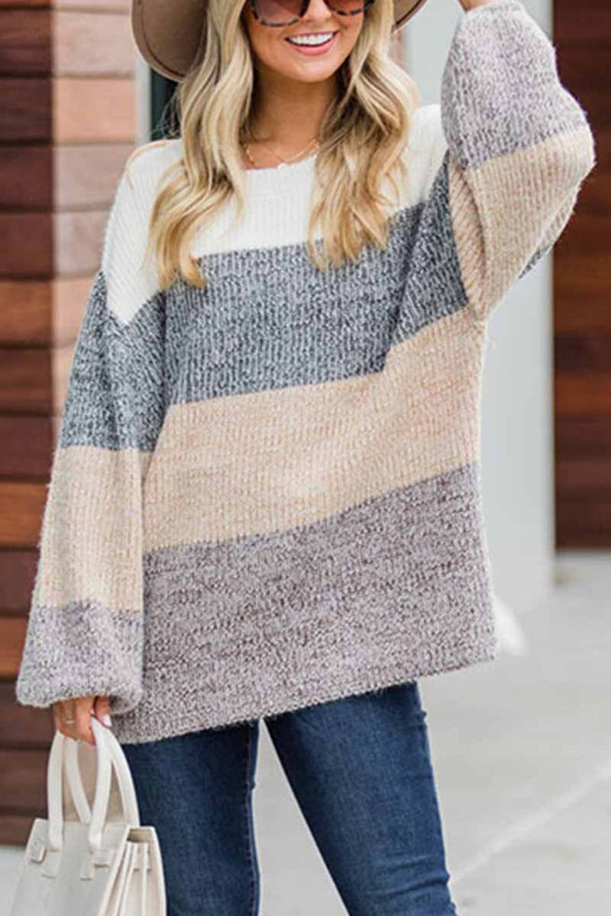Florcoo Contrast Striped Loose Round Neck Sweater