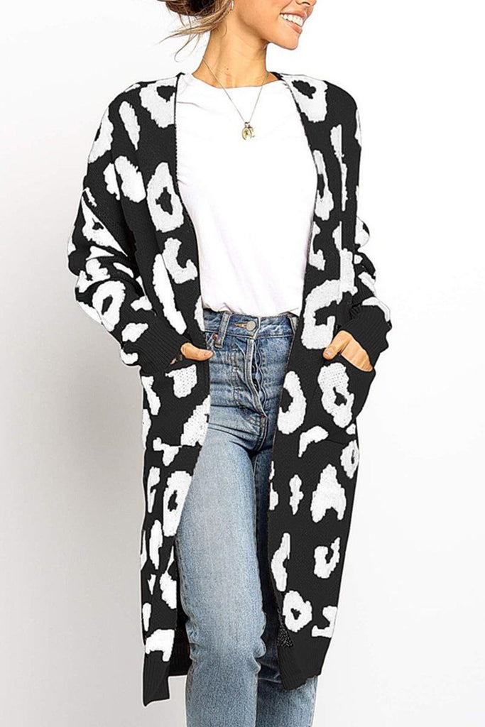 Florcoo Leopard Print Sweet Comfy Cardigan Tops Sweater(3 Colors)