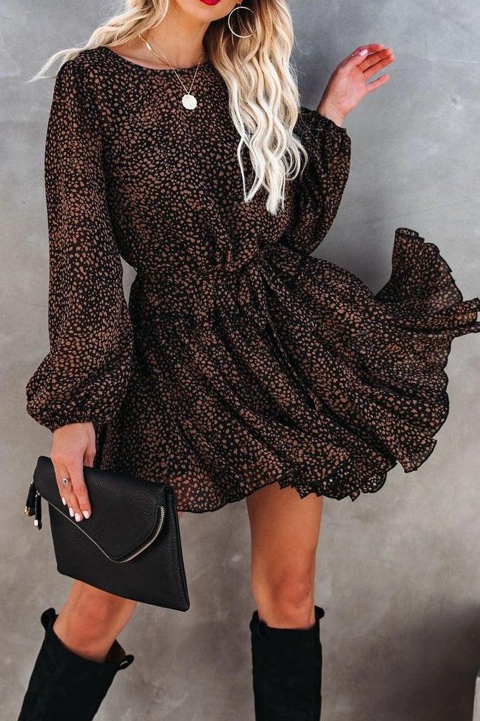 Florcoo Round Neck Long Sleeves Ruffle Mini Dresses