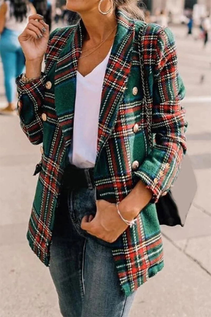 Florcoo Grid Plaid Green Blazer