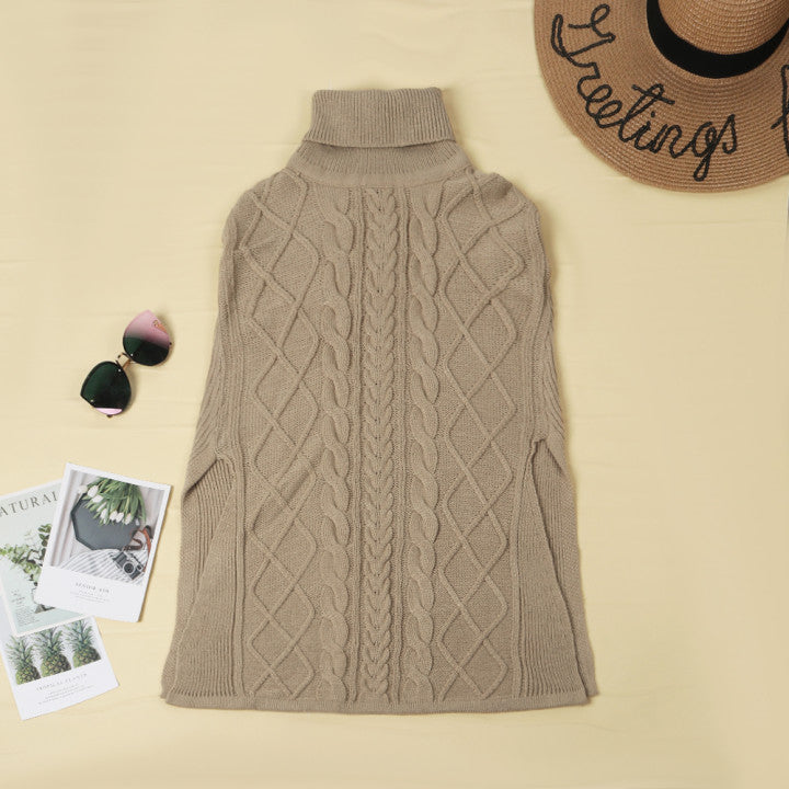 Florcoo High Neck Loose Cable Knit Pattern Stitching Sweater Tops (7 Colors)