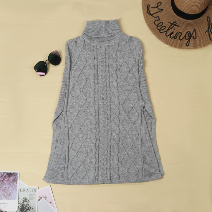 Florcoo High Neck Loose Cable Knit Pattern Stitching Sweater Tops