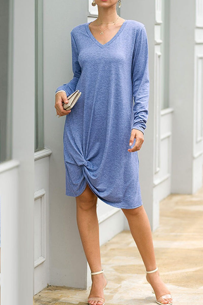 Florcoo  V-Neck Casual Autumn Dress (3 Colors)