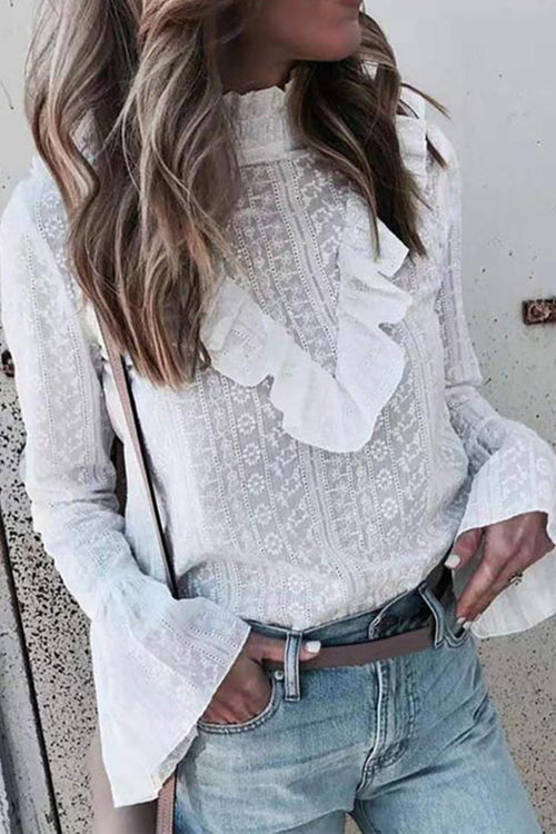 Florcoo White Ruffled Blouse