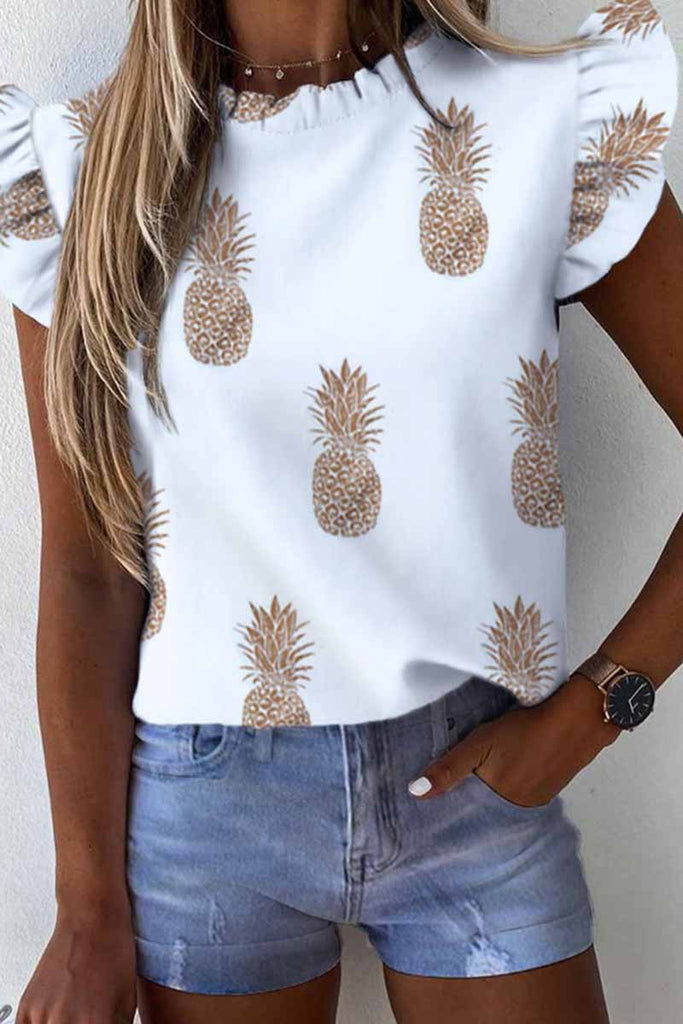 Florcoo O Neck Loose Ruffled Tops