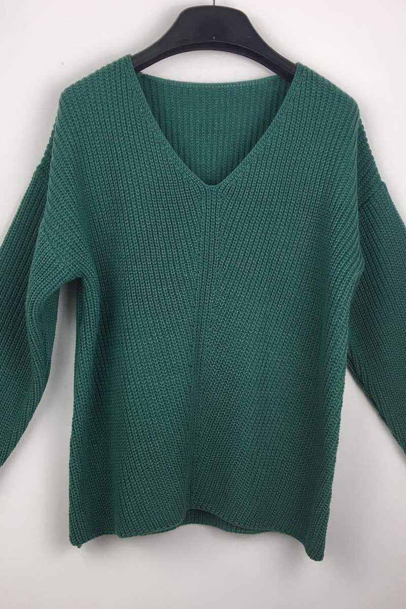 Florcoo Sexy Fashion V-neck Knitted Sweater