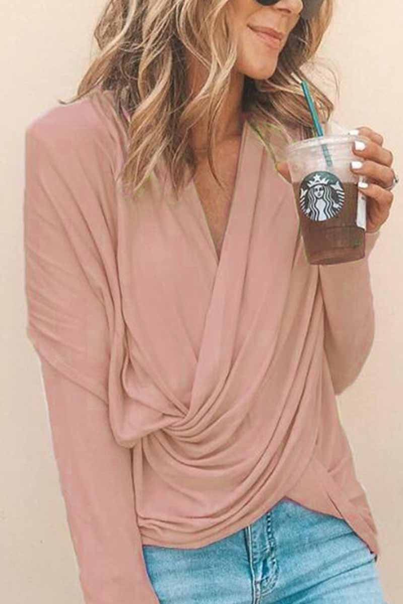Florcoo V Neck Loose Long Sleeve Tops