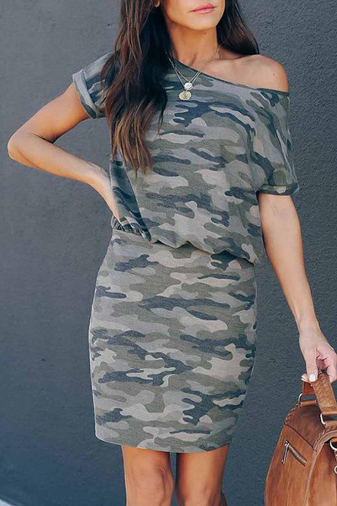 Florcoo Sexy Camouflage Off Shoulder Mini Dress