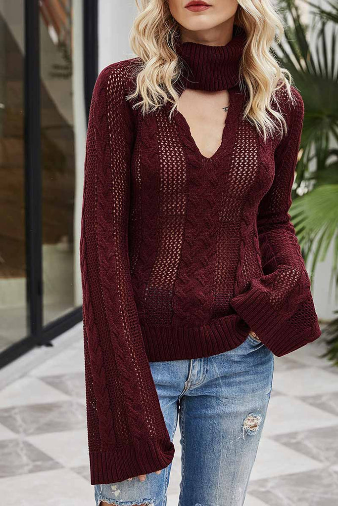 Florcoo Sexy Hollow Turtleneck Sweater