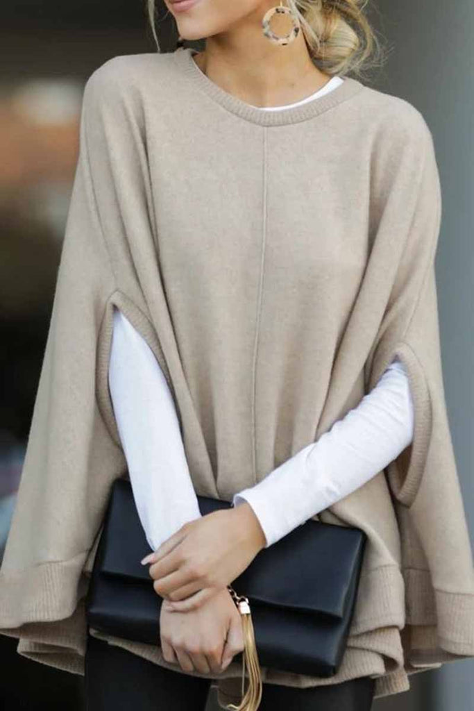 Florcoo Cape Loose Crew Neck Sweater