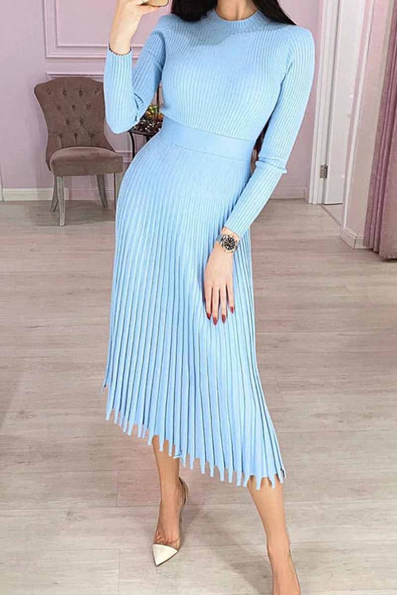 Florcoo Solid Color Loose Pleated Knitted Midi Dresses