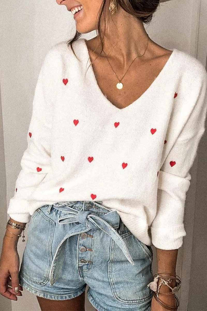 Florcoo Loose V-Neck Heart-Shaped Knitted Sweater