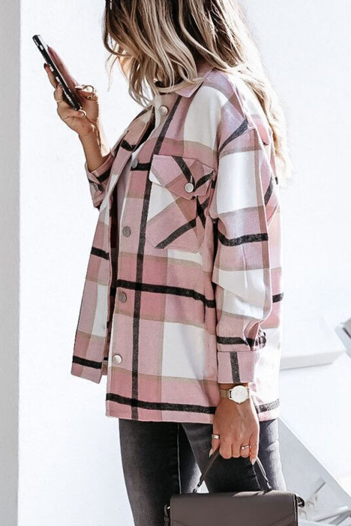 Florcoo Long Sleeve Loose Plaid Jacket