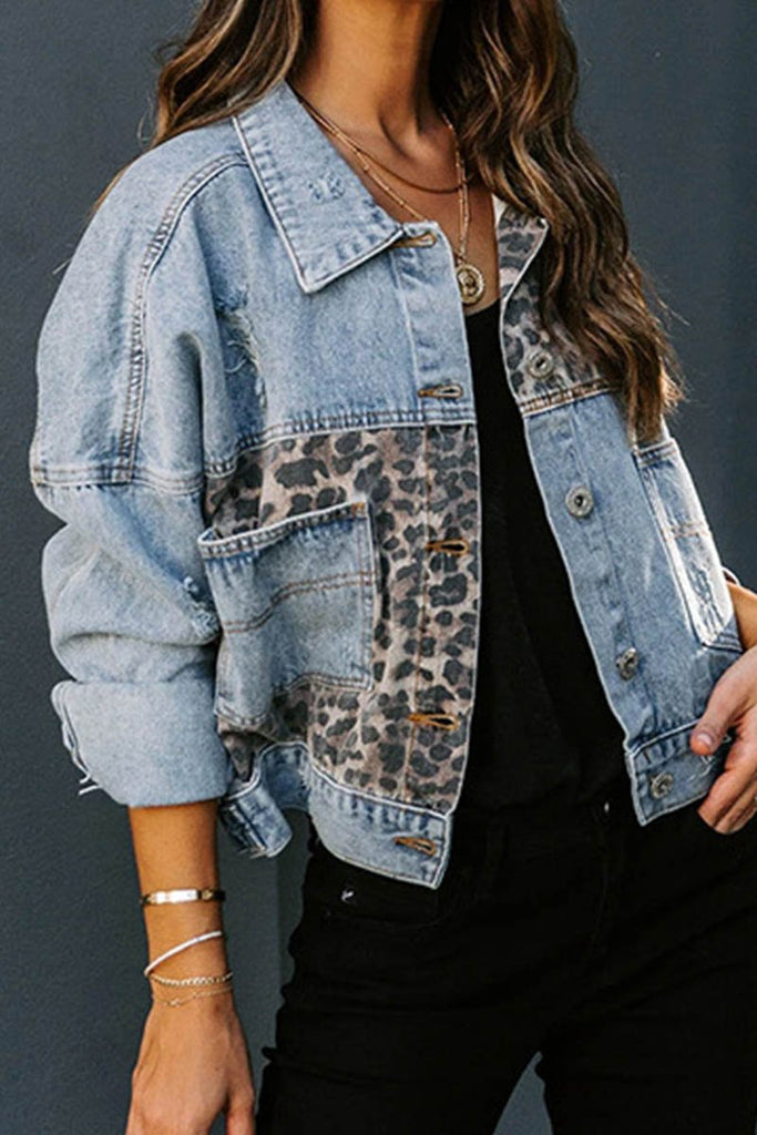Florcoo Denim Leopard Patchwork Jacket
