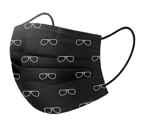 Black Basic Disposable 3 Ply Masks with Eyeglass Pattern (Pack of 50)