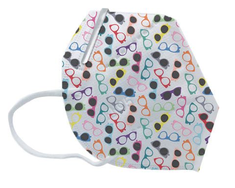 Deluxe Disposable KN-95 Mask with Eyeglass Pattern Print (Civil Use) (Box of 20) ($3.50/mask)