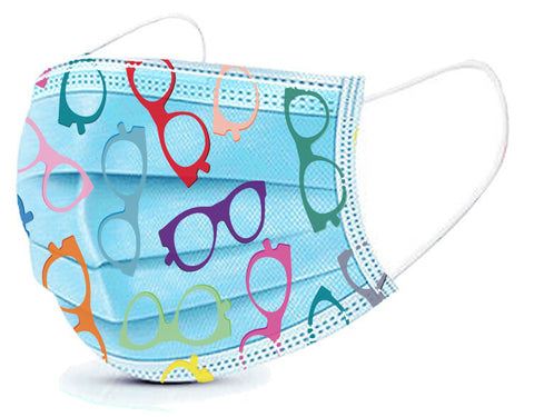Eyeglass Pattern Basic Disposable 3 Ply Masks (Box of 50)