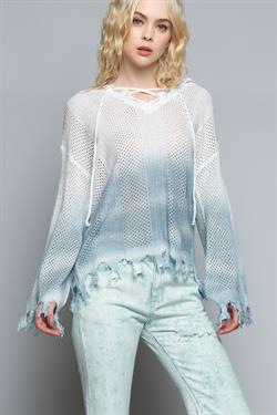 Ombre white/Blue Distressed Edge Sweater