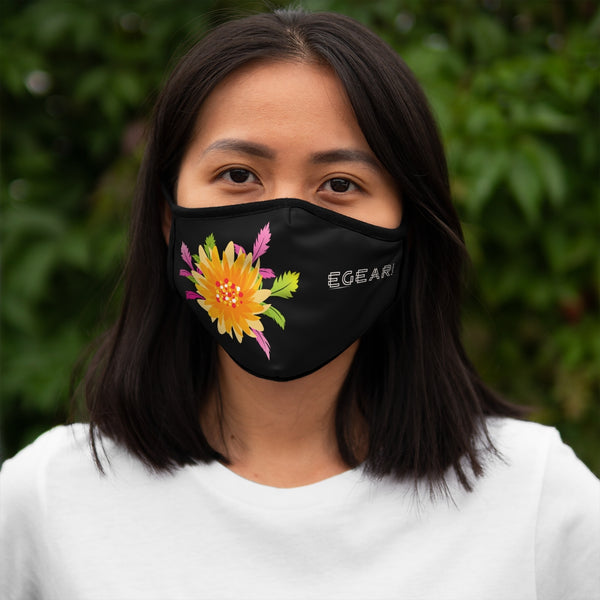 Pink And Yellow Floral Ornaments Flowers Fitted Polyester Face Mask