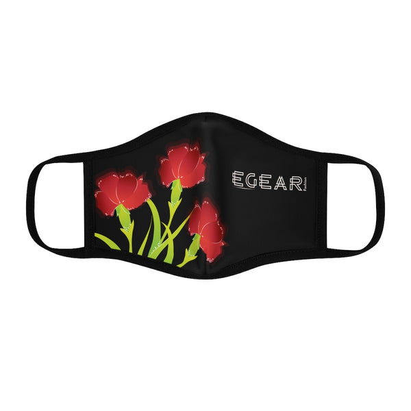 Red  Floral Ornaments Flower Fitted Polyester Face Mask